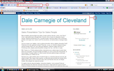 screenshot Dale Carnegie Sample Blog with no post pages.