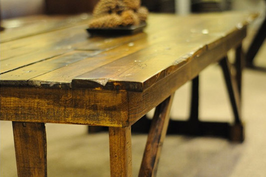 wooden pallet coffee table close up