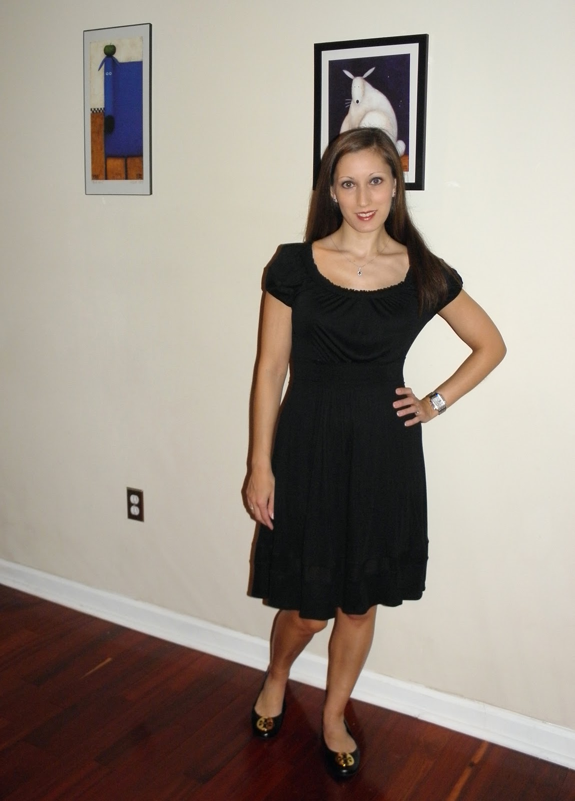 The dress is from BCBGMaxAzria and the flats are from Tory Burch. It really  was hard to smile for today's photo.