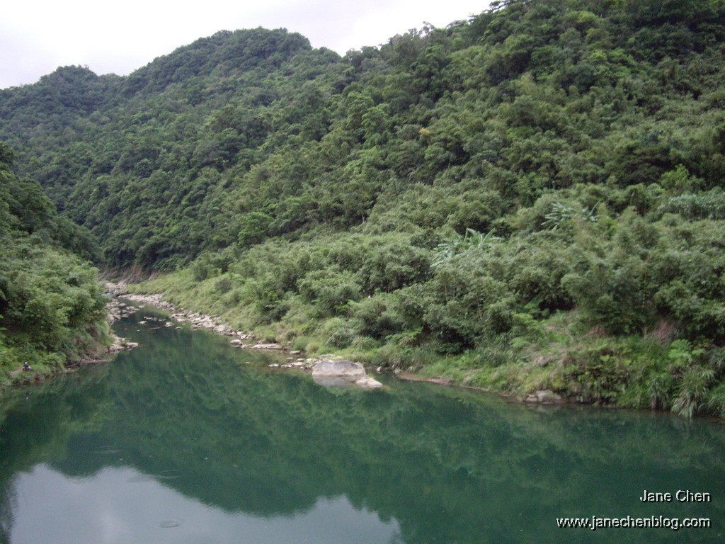 The river is jade green.