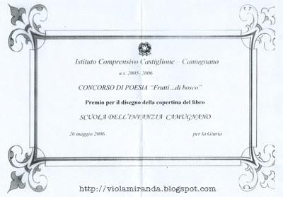Premio per il disegno della Copertina del Libro