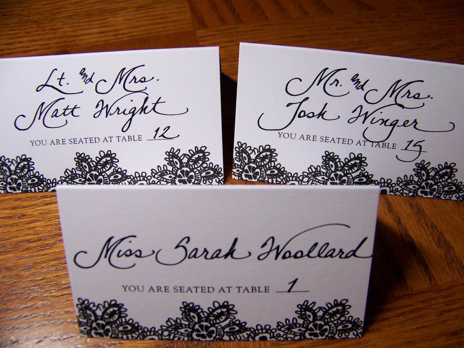 The Personal Touch Classy Black And White Place Cards