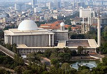 The Istiqlal Mosque and Jakarta Cathedral in Central Jakarta. Indonesia has the world's largest population of Muslims