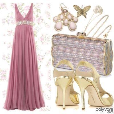 Vestido de festa longo rosa velho