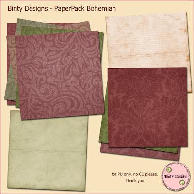 http://bintysscrapbooks.blogspot.com/2009/08/freebie-bohemian-paperpack.html