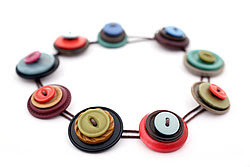 The Blue Pebble - Retro button stack necklace