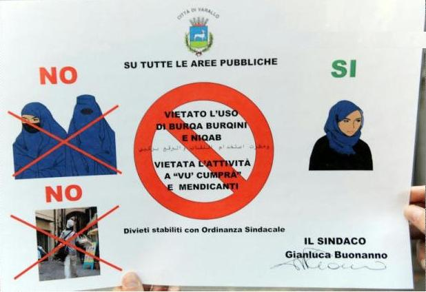 Poster in Italy to ban the niqab and burqa