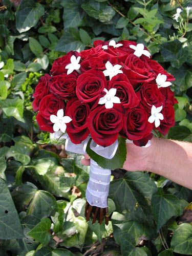 Bouquet Bridal Red Roses And Small White Flowers Bouquet