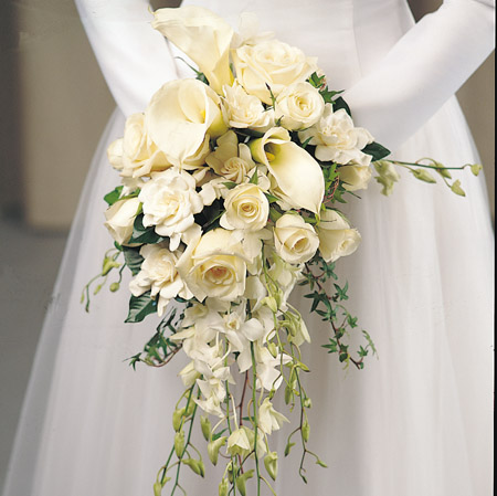 Bouquet Bridal White Rose And Calla Lily Bouquet
