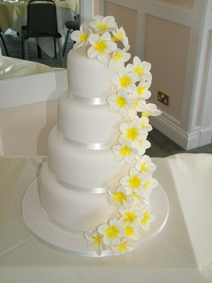 Three tier round wedding cake with frangipanis