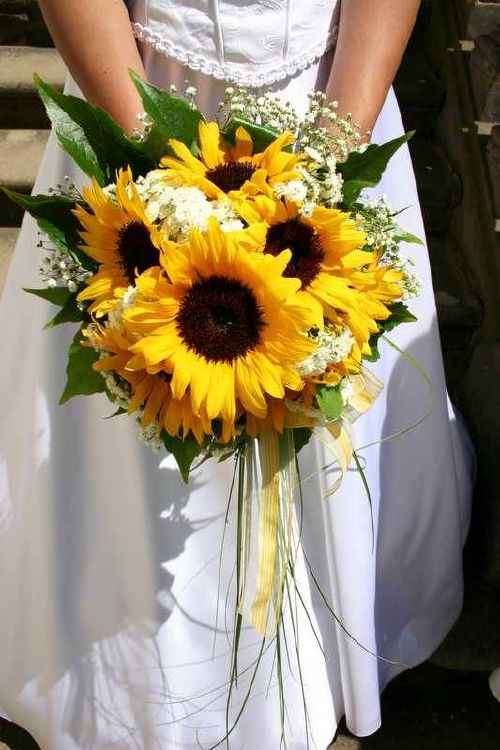Bouquet Bridal Sunflower Bridal Bouquet Ideas With White Flowers