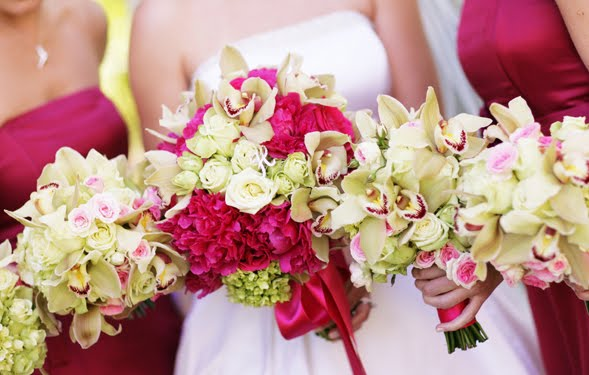 Bridal Bouquets Pink And White : Bouquet bridal white and hot pink wedding