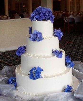 Sugar hydrangea flowers in pale blue on dotted four tier white wedding cake