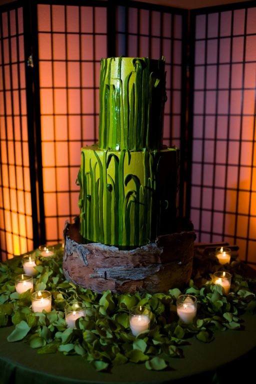 A tall two tier wedding cake in green with grass decorations