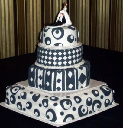Black and white Topsy Turvy black and white wedding cake with four tiers