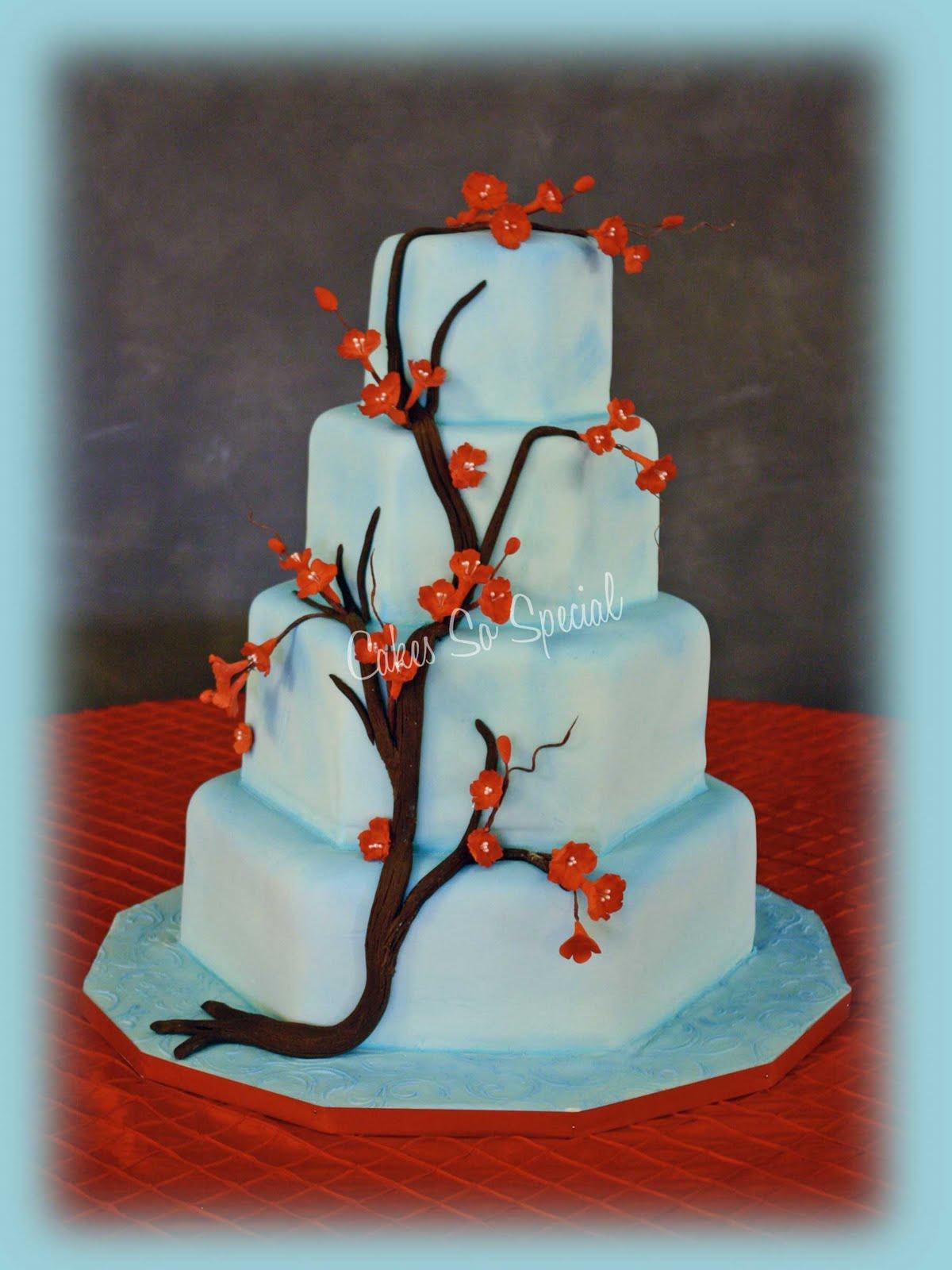 Wedding Cakes Blue Cherry Blossom Wedding Cake