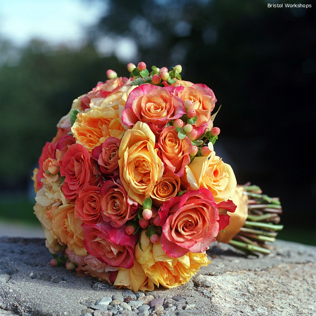 Amazing bridal bouquet made of orange and pink roses
