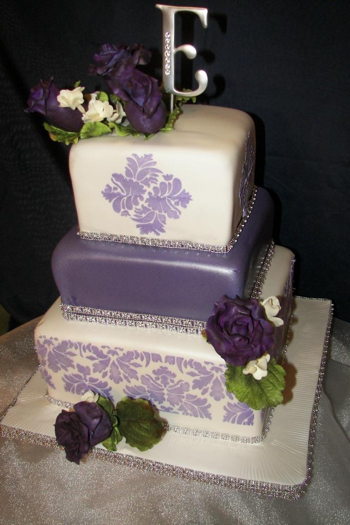 wedding cakes pictures purple damask cakes. Black Bedroom Furniture Sets. Home Design Ideas