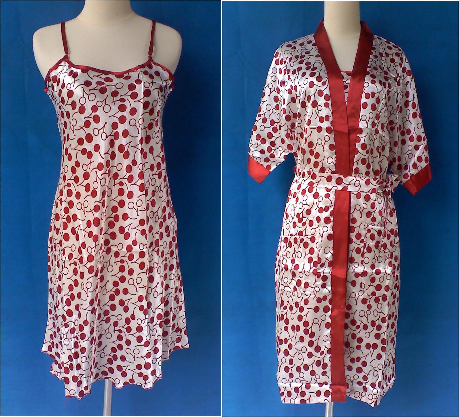 Model Baju Kimono Tidur Dasar Satin Dot