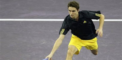 Gilles Simon in his upset win over Rafael Nadal at the Madrid Masters