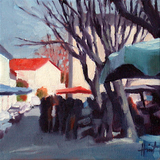 Market in Winter by Liza Hirst