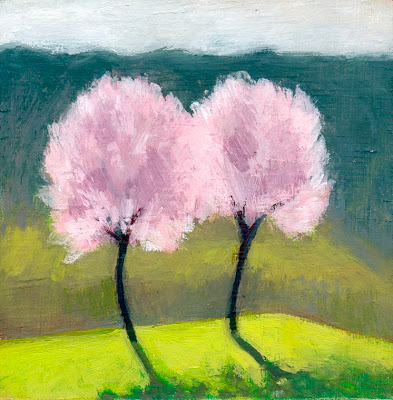 Two plum trees by Liza Hirst