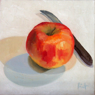 Apple with knife by Liza Hirst