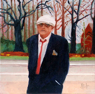 David Hockney in front of his latest painting by Liza Hirst
