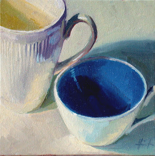 White Cups on White by Liza Hirst