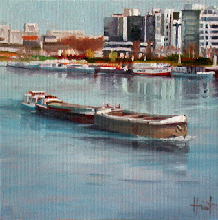 Barge on the Seine by Liza Hirst
