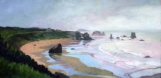 Oregon Coast on Misty Day by Liza Hirst