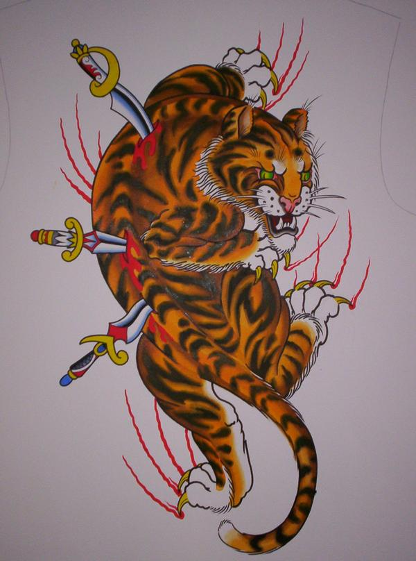 Dragon on Tiger Eye Yang by Ament's Art Tiger Tattoo Design Tiger and Dragon