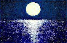 قمر يغازل البحر