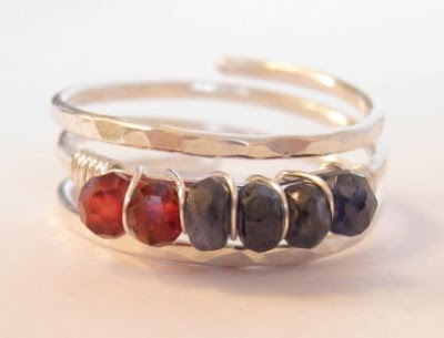 unique custom handmade sterling silver birthstone ring