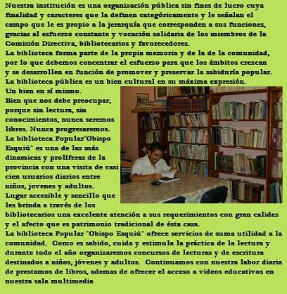 biblioteca popular obispo esquiú