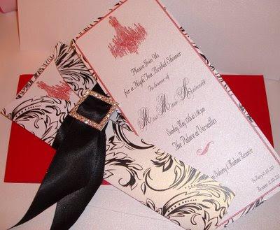 black ribbon wedding invitations design