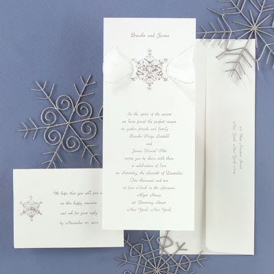Luxurious White Wedding Invitations With Snowflake Ornament
