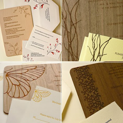 Wooden Themed Wedding Invitations Design With Twig Ornaments