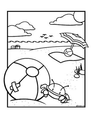 Beachball and Crab Coloring Pages