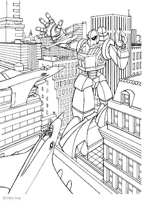 Transformer Coloring on Transformers In The City Coloring Pages