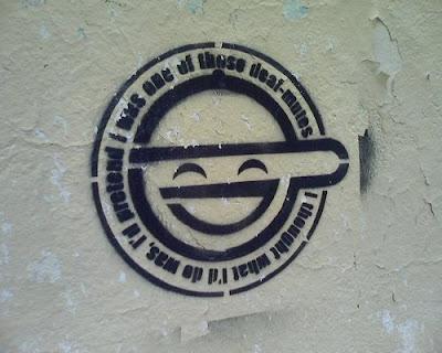 big smile graffiti stencil