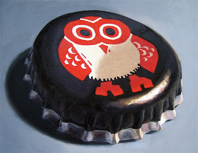 oil painting of hitachino beer cap