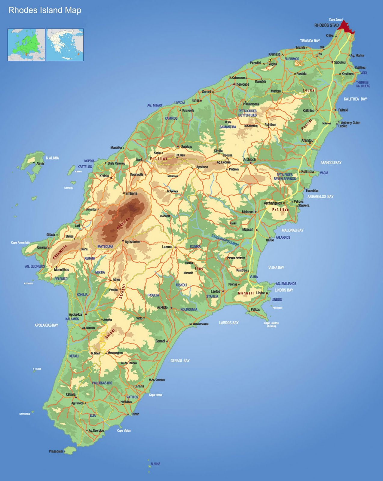 Map Of Rhodes Island Rodos Map Xarths Rodou Greece ISLANDRHODES