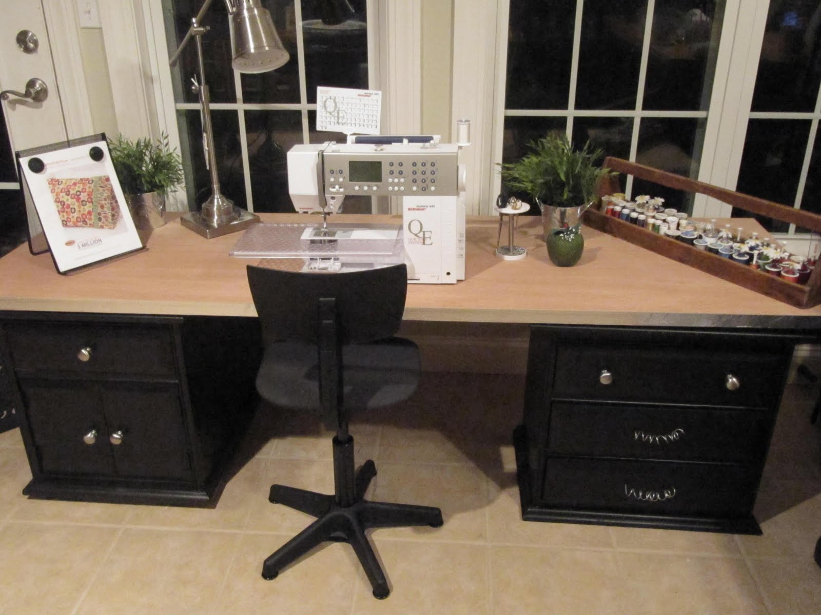 Sew many ways tool time tuesdaynew sewing table for Sewing room furniture