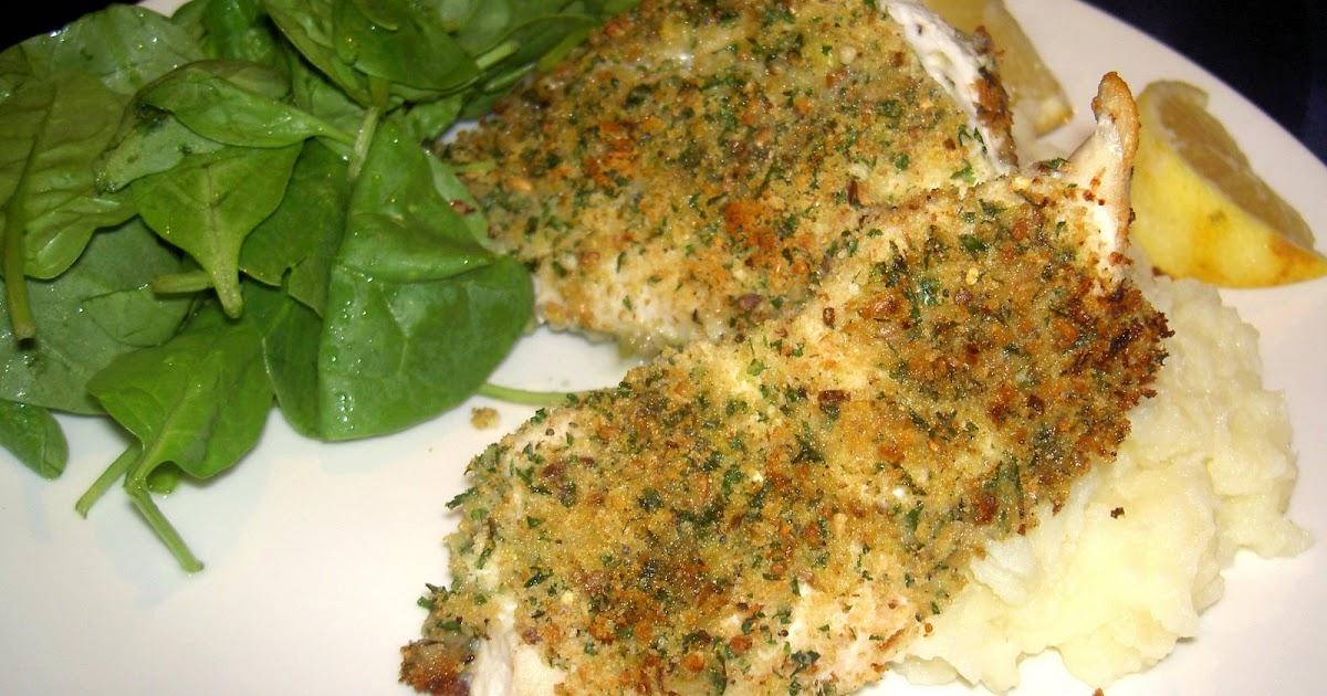 ... Ange: Lemon and parsley crusted fish with garlic mashed potatoes