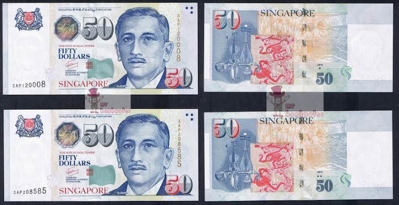 Singapore 50 Dollar note varieties