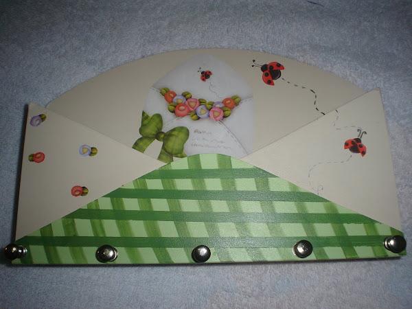 Porta Correspondencia e Chaves (Verde xadrez) - R$ 20,00