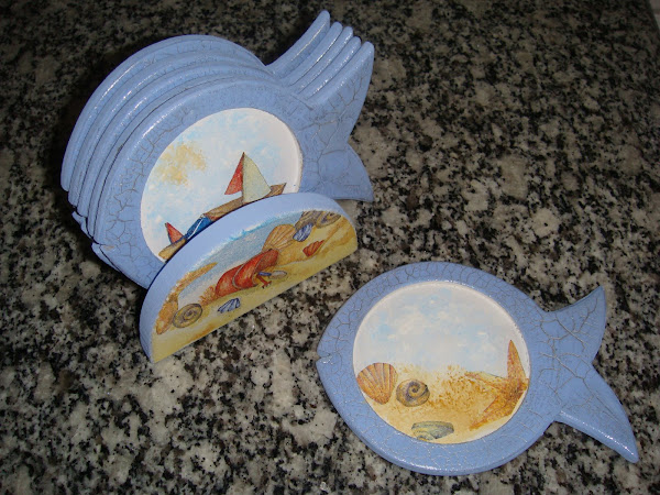 Descanso de copos (peixinho) c/6 - R$ 20,00