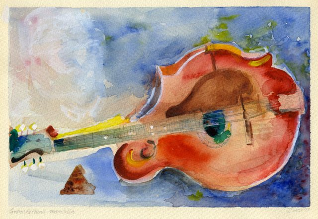 "Water Color ""Grandfather's Mandolin"" by Robert Ivers of Gibson F-4 #24532"