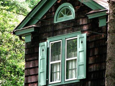 Window Treatments: half moon window above 2 windows, moon window
